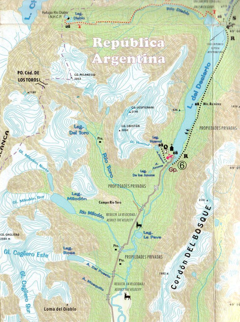 chalten map with trails near to lake Lago del desierto