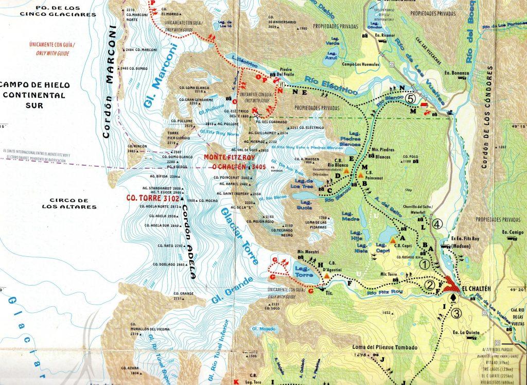 chalten map with trails near to village