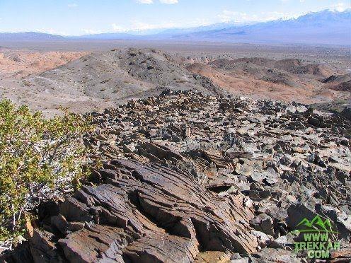 Sharp flagstone on the hillside