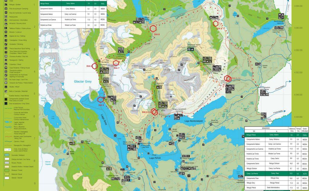 Mapa Parque Nacional Torres de Paine